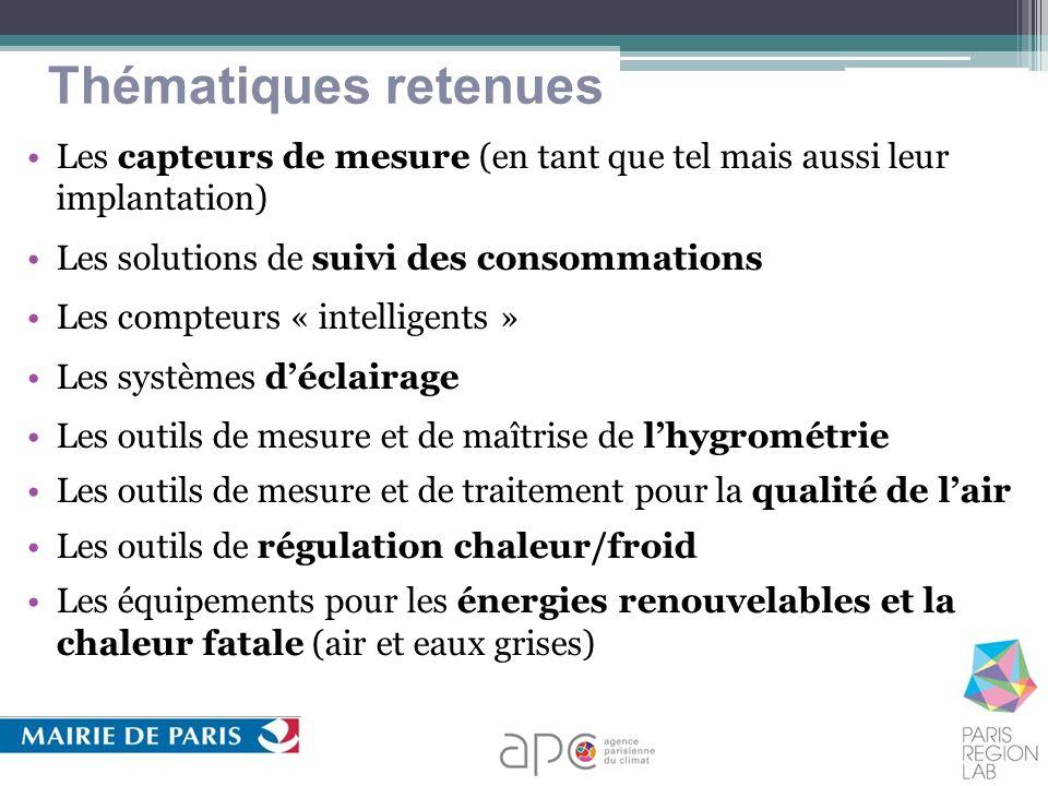 Thématiques retenues Les capteurs de mesure (en tant que tel mais aussi leur implantation) Les solutions de suivi des consommations Les compteurs « in