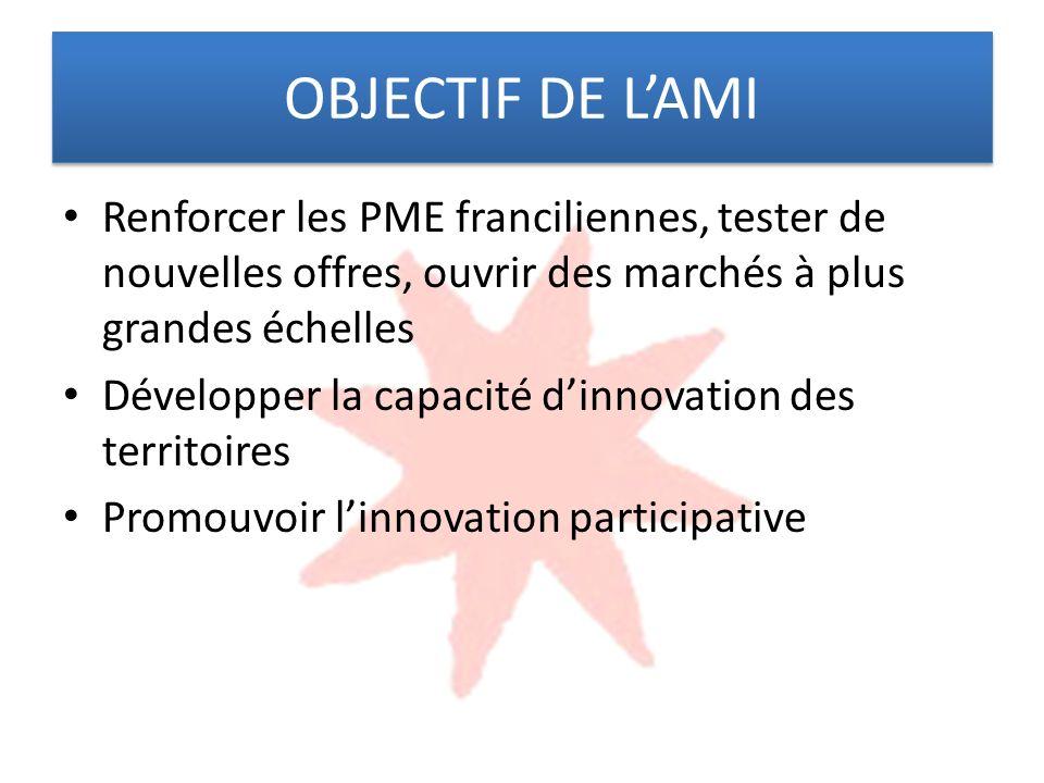 OBJECTIF DE LAMI Renforcer les PME franciliennes, tester de nouvelles offres, ouvrir des marchés à plus grandes échelles Développer la capacité dinnovation des territoires Promouvoir linnovation participative