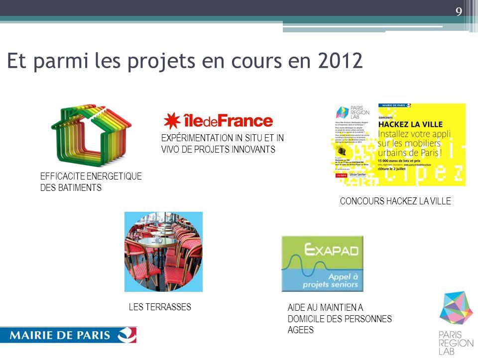 Et parmi les projets en cours en 2012 9 EFFICACITE ENERGETIQUE DES BATIMENTS CONCOURS HACKEZ LA VILLE LES TERRASSES AIDE AU MAINTIEN A DOMICILE DES PE