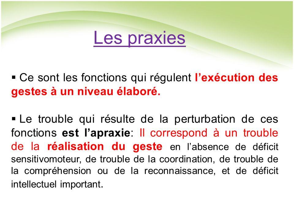 Les praxies Ce sont les fonctions qui régulent lexécution des gestes à un niveau élaboré.