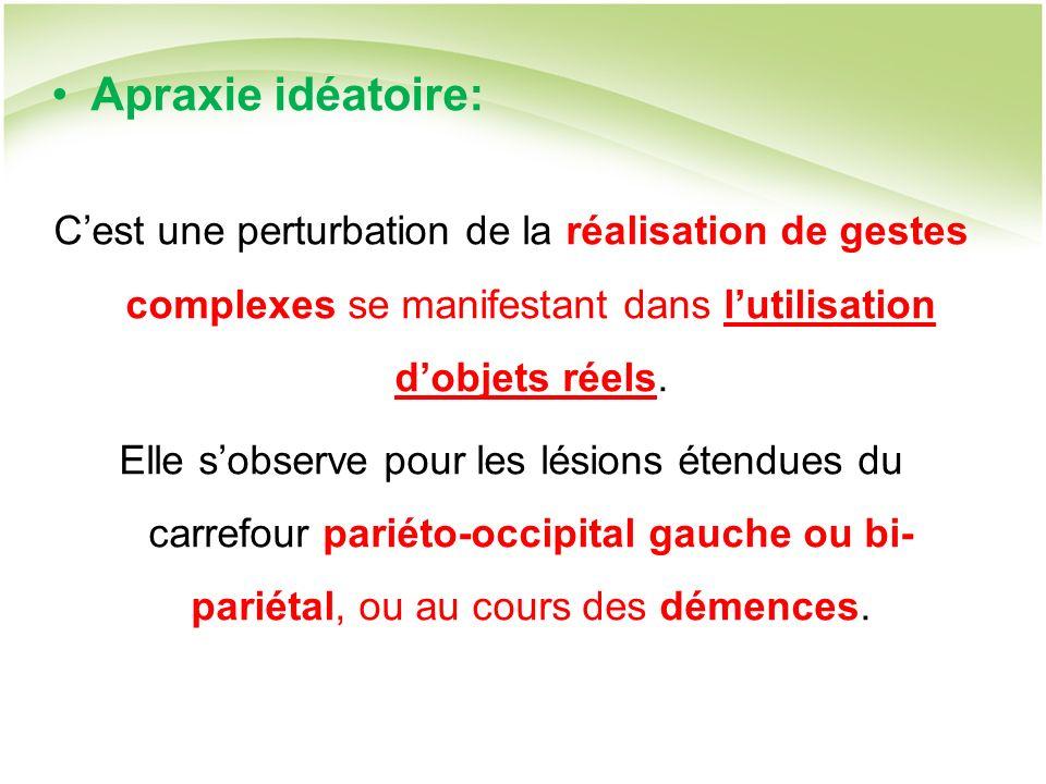Apraxie idéatoire: Cest une perturbation de la réalisation de gestes complexes se manifestant dans lutilisation dobjets réels.