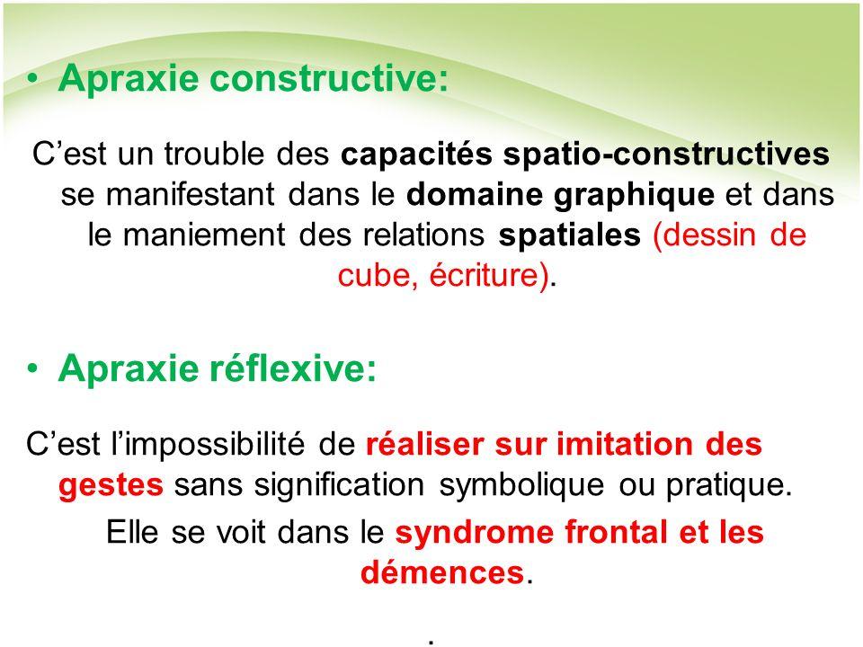 Apraxie constructive: Cest un trouble des capacités spatio-constructives se manifestant dans le domaine graphique et dans le maniement des relations spatiales (dessin de cube, écriture).