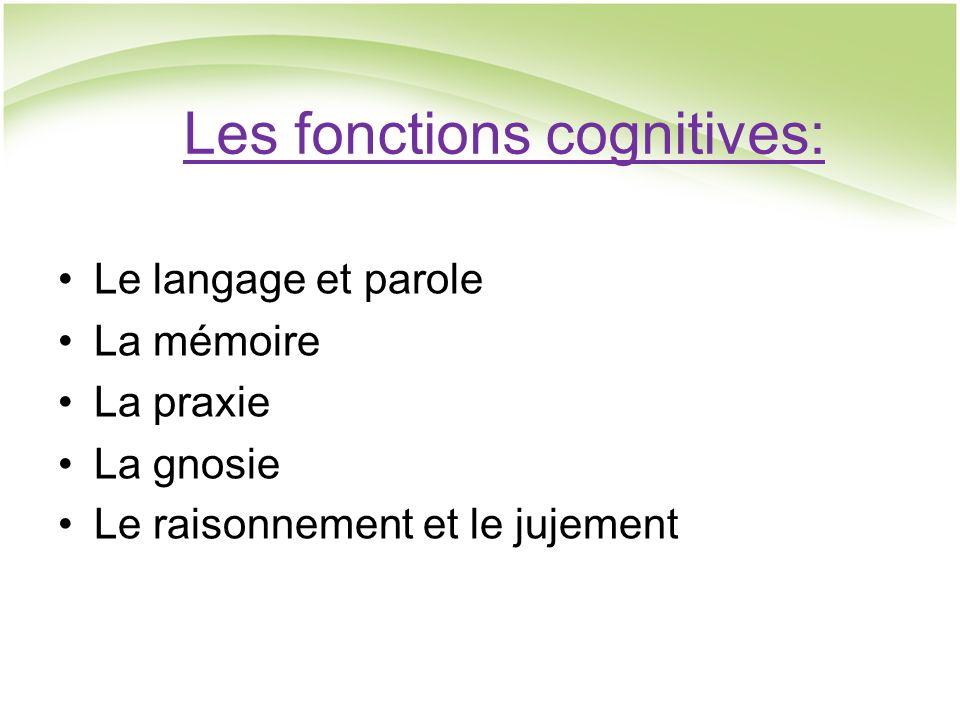 Les fonctions cognitives: Le langage et parole La mémoire La praxie La gnosie Le raisonnement et le jujement