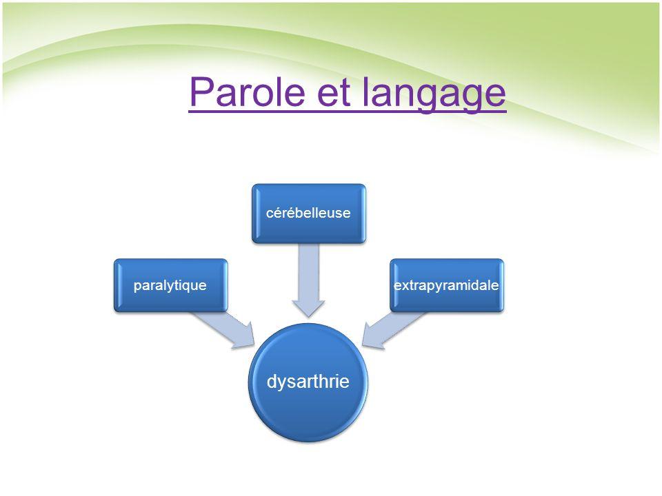 Parole et langage dysarthrie paralytique cérébelleuse extrapyramidale