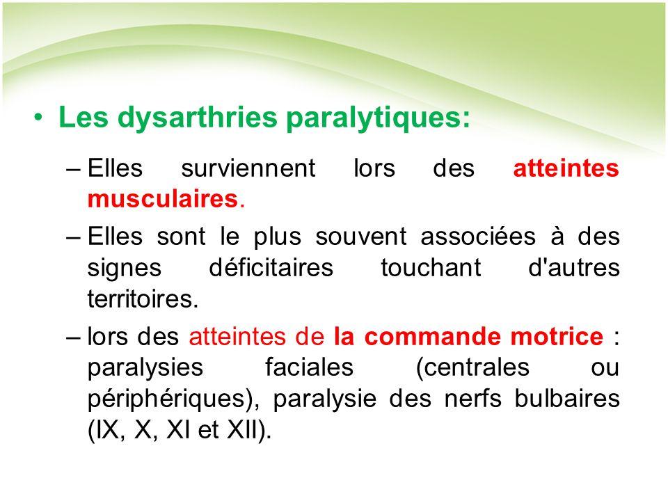 Les dysarthries paralytiques: –Elles surviennent lors des atteintes musculaires.