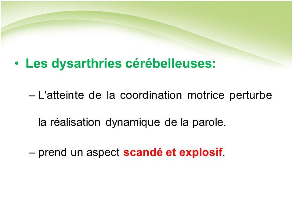 Les dysarthries cérébelleuses: –L atteinte de la coordination motrice perturbe la réalisation dynamique de la parole.