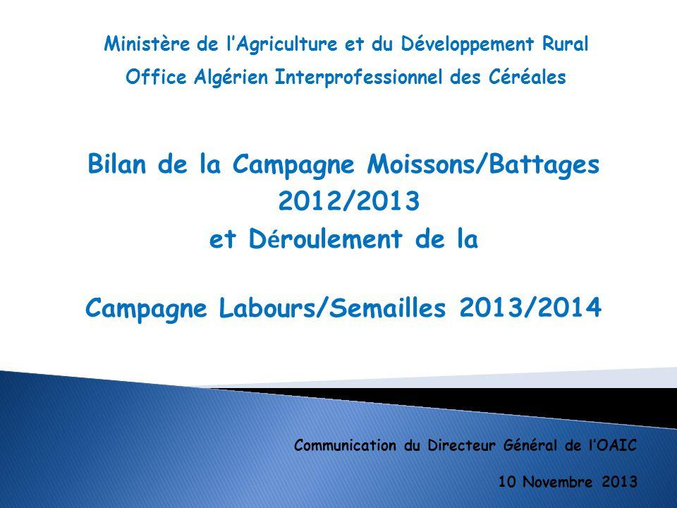 Bilan de la Campagne Moissons/Battages 2012/2013 La Campagne Moissons/battages 2012/2013 s est d é roul é e dans de bonnes conditions avec une collecte r é alis é e par l OAIC équivalente à celle de la campagne passée.