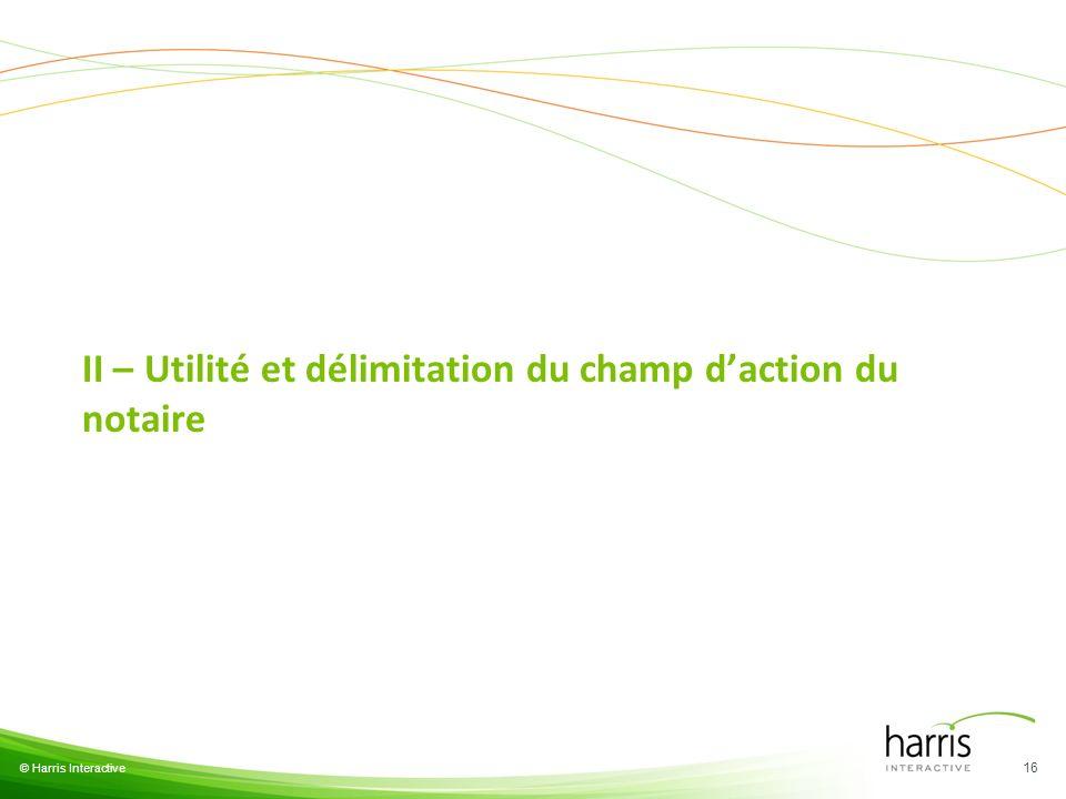 II – Utilité et délimitation du champ daction du notaire 16 © Harris Interactive