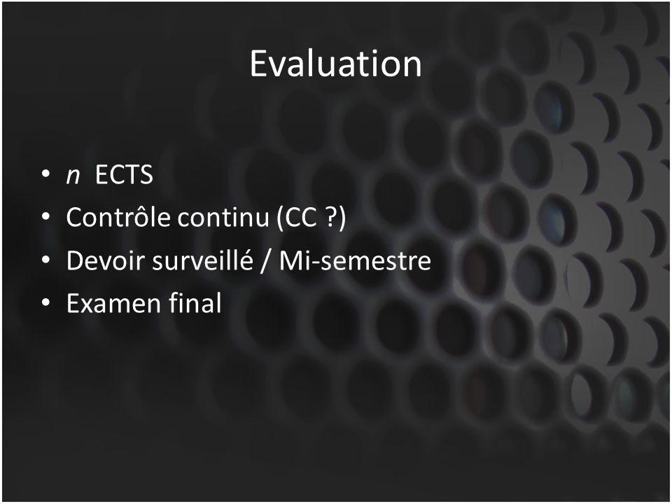 Evaluation n ECTS Contrôle continu (CC ?) Devoir surveillé / Mi-semestre Examen final