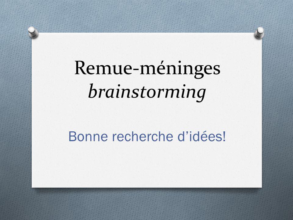 Remue-méninges brainstorming Bonne recherche didées!