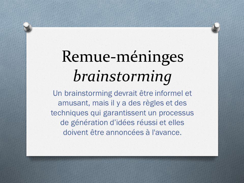 Remue-méninges brainstorming Un brainstorming devrait être informel et amusant, mais il y a des règles et des techniques qui garantissent un processus