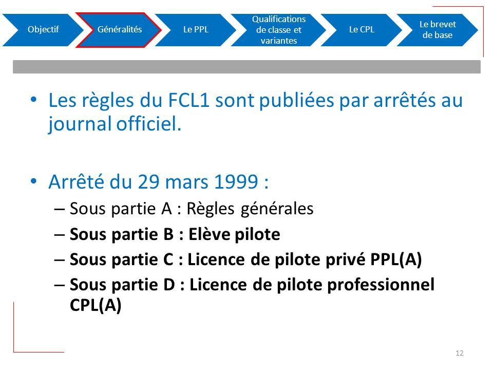 Les règles du FCL1 sont publiées par arrêtés au journal officiel. Arrêté du 29 mars 1999 : – Sous partie A : Règles générales – Sous partie B : Elève