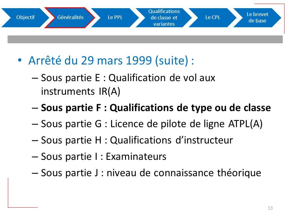 Arrêté du 29 mars 1999 (suite) : – Sous partie E : Qualification de vol aux instruments IR(A) – Sous partie F : Qualifications de type ou de classe –