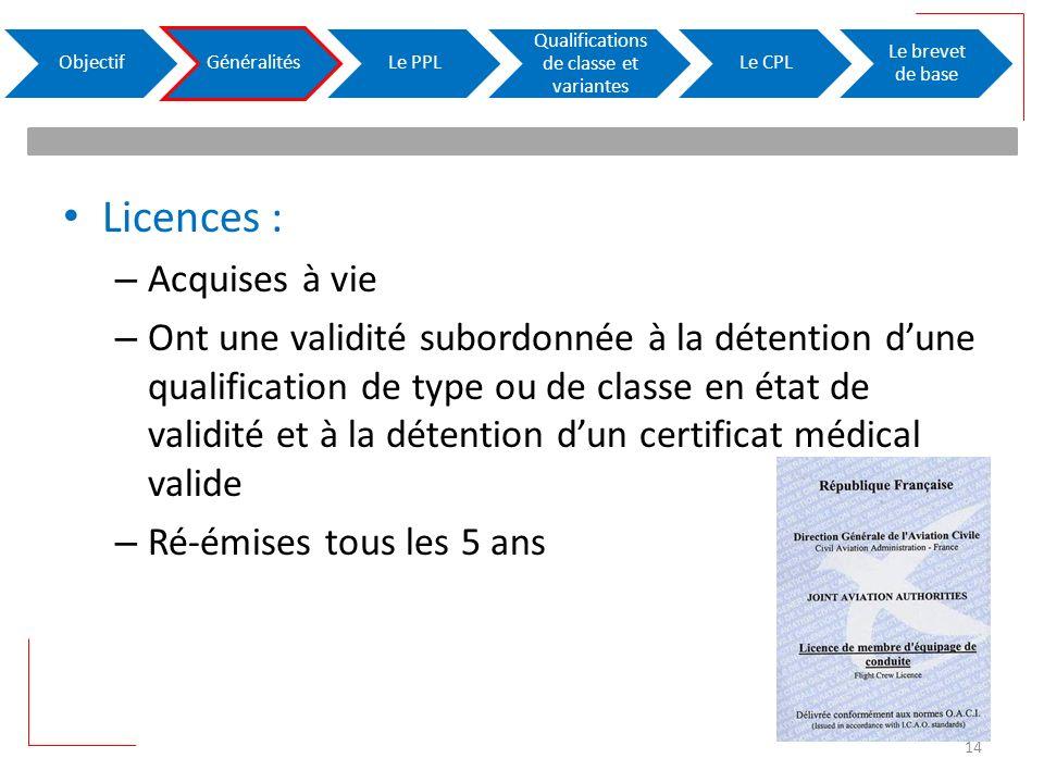 Licences : – Acquises à vie – Ont une validité subordonnée à la détention dune qualification de type ou de classe en état de validité et à la détentio