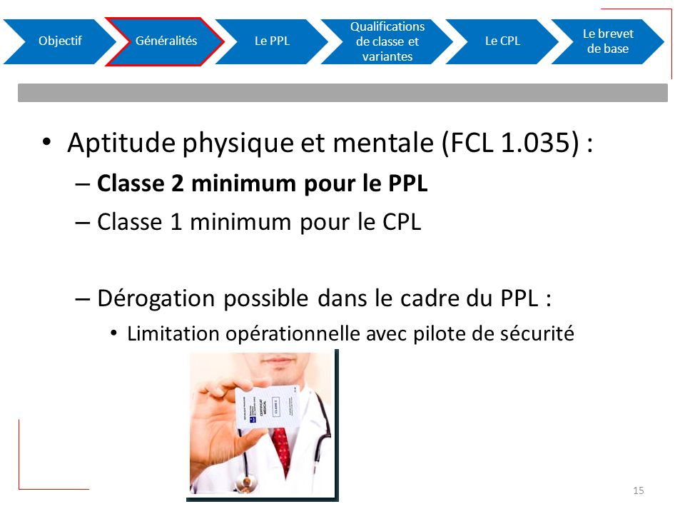Aptitude physique et mentale (FCL 1.035) : – Classe 2 minimum pour le PPL – Classe 1 minimum pour le CPL – Dérogation possible dans le cadre du PPL : Limitation opérationnelle avec pilote de sécurité ObjectifGénéralitésLe PPL Qualifications de classe et variantes Le CPL Le brevet de base 15