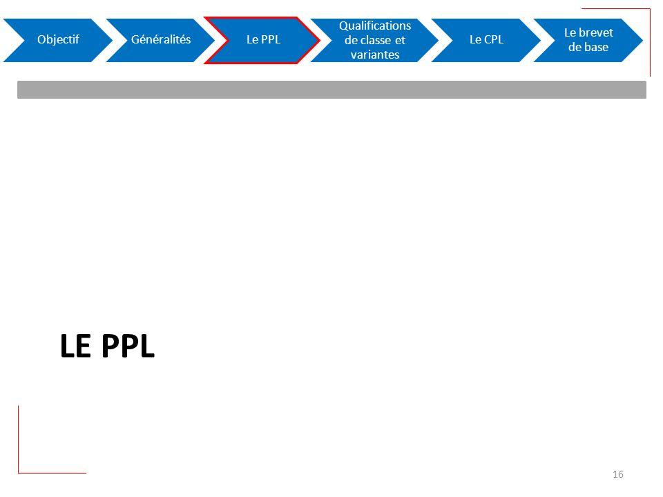 LE PPL ObjectifGénéralitésLe PPL Qualifications de classe et variantes Le CPL Le brevet de base 16