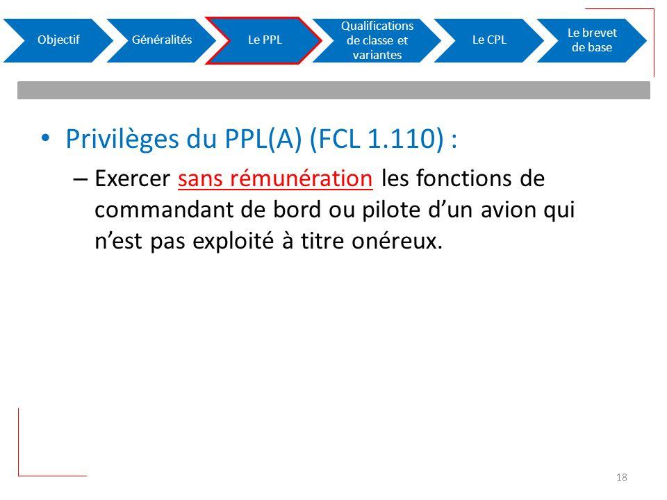 Privilèges du PPL(A) (FCL 1.110) : – Exercer sans rémunération les fonctions de commandant de bord ou pilote dun avion qui nest pas exploité à titre o