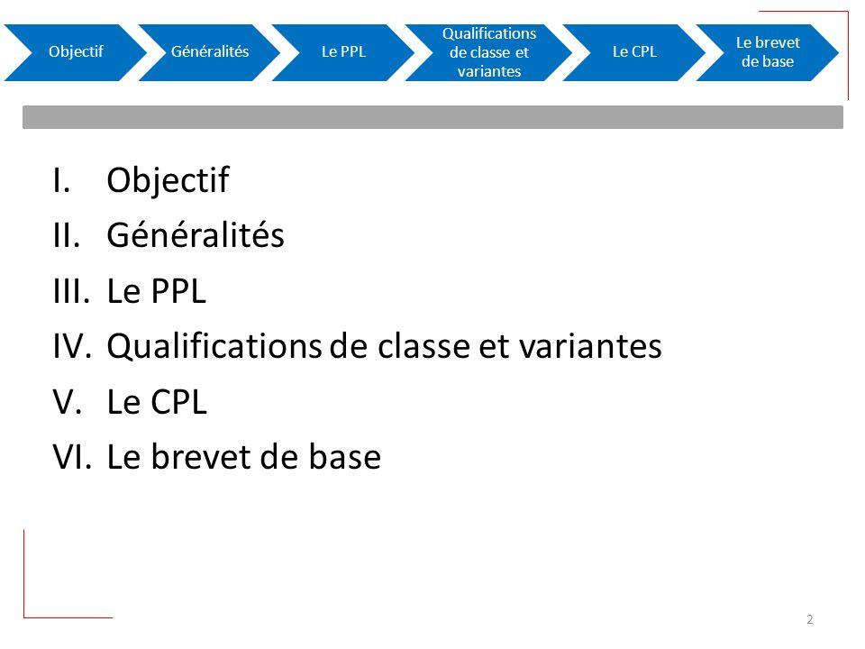 I.Objectif II.Généralités III.Le PPL IV.Qualifications de classe et variantes V.Le CPL VI.Le brevet de base ObjectifGénéralitésLe PPL Qualifications de classe et variantes Le CPL Le brevet de base 2