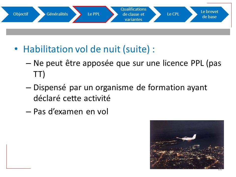 Habilitation vol de nuit (suite) : – Ne peut être apposée que sur une licence PPL (pas TT) – Dispensé par un organisme de formation ayant déclaré cett