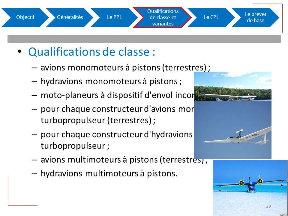 Qualifications de classe : – avions monomoteurs à pistons (terrestres) ; – hydravions monomoteurs à pistons ; – moto-planeurs à dispositif d'envol inc