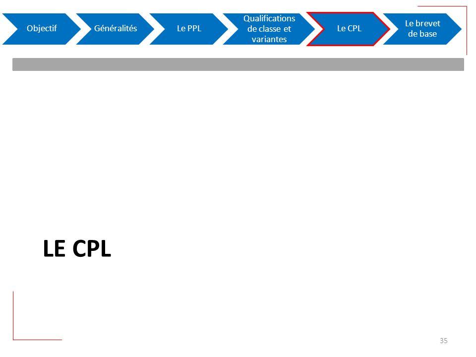 LE CPL ObjectifGénéralitésLe PPL Qualifications de classe et variantes Le CPL Le brevet de base 35