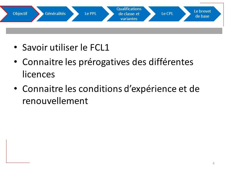 Savoir utiliser le FCL1 Connaitre les prérogatives des différentes licences Connaitre les conditions dexpérience et de renouvellement ObjectifGénéralitésLe PPL Qualifications de classe et variantes Le CPL Le brevet de base 4
