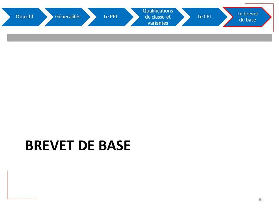 BREVET DE BASE ObjectifGénéralitésLe PPL Qualifications de classe et variantes Le CPL Le brevet de base 40