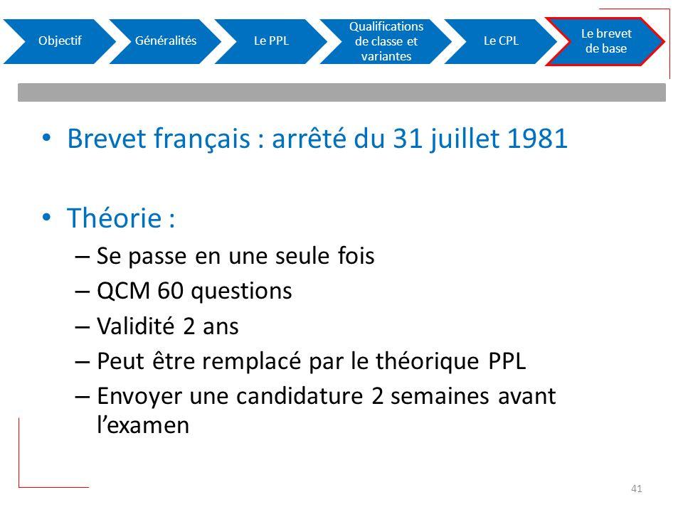 Brevet français : arrêté du 31 juillet 1981 Théorie : – Se passe en une seule fois – QCM 60 questions – Validité 2 ans – Peut être remplacé par le thé