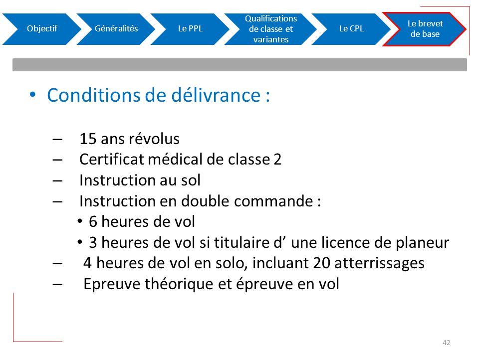 Conditions de délivrance : – 15 ans révolus – Certificat médical de classe 2 – Instruction au sol – Instruction en double commande : 6 heures de vol 3