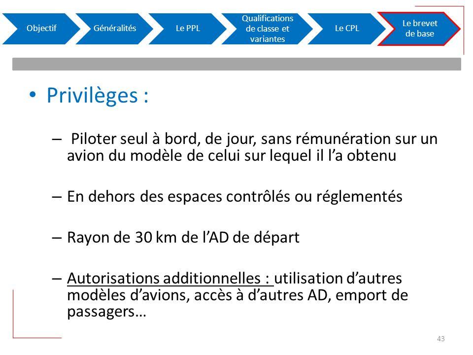Privilèges : – Piloter seul à bord, de jour, sans rémunération sur un avion du modèle de celui sur lequel il la obtenu – En dehors des espaces contrôl