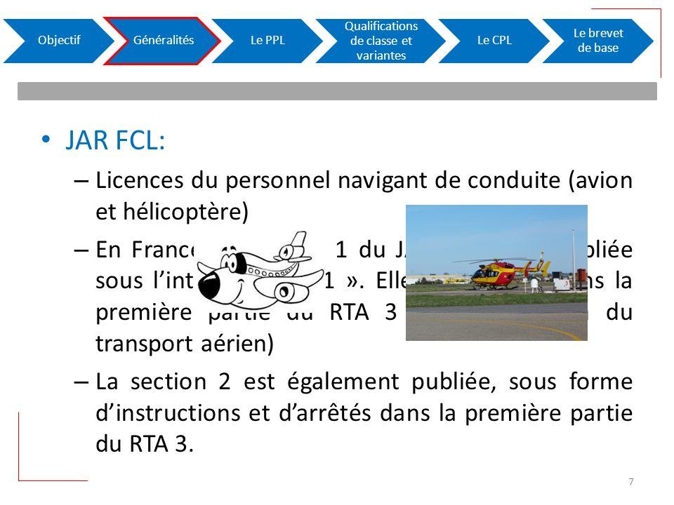 JAR FCL: – Licences du personnel navigant de conduite (avion et hélicoptère) – En France, la section 1 du JAR-FCL 1 est publiée sous lintitulé « FCL 1