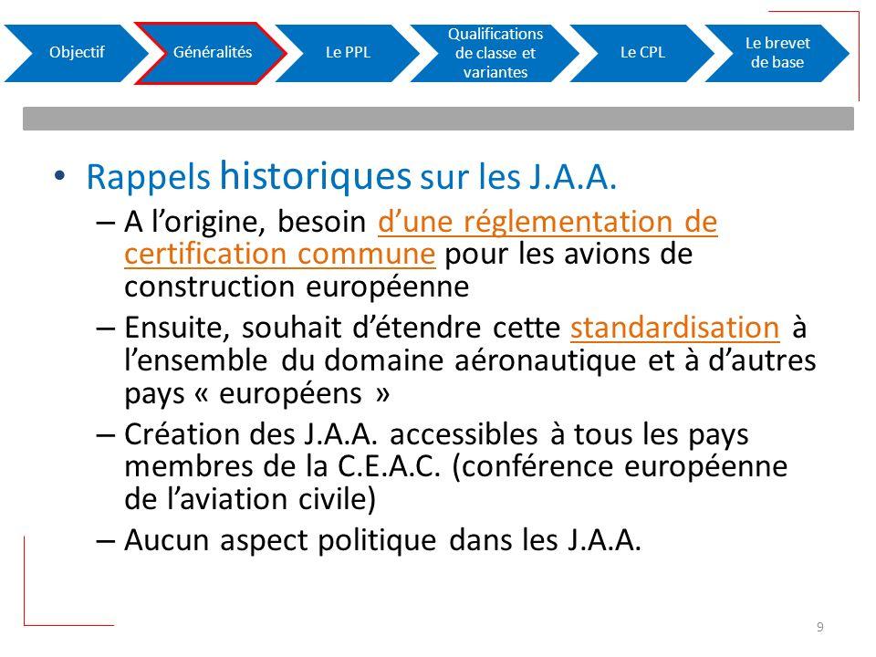 Rappels historiques sur les J.A.A. – A lorigine, besoin dune réglementation de certification commune pour les avions de construction européenne – Ensu