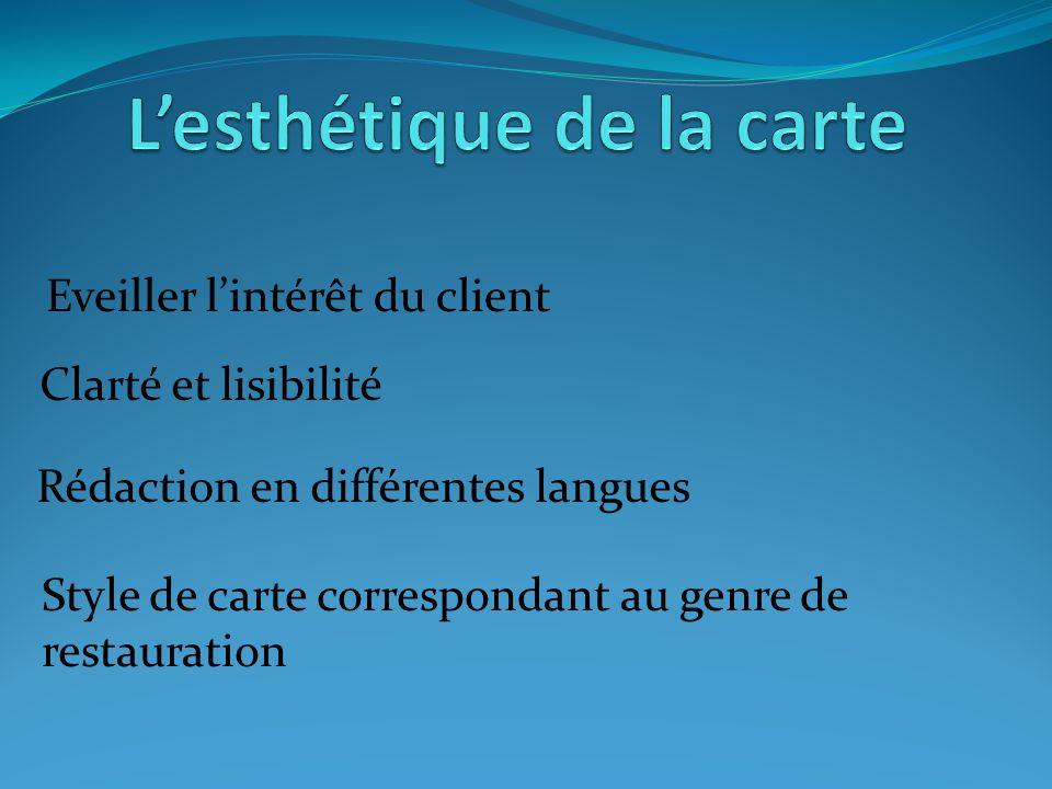 Eveiller lintérêt du client Clarté et lisibilité Rédaction en différentes langues Style de carte correspondant au genre de restauration