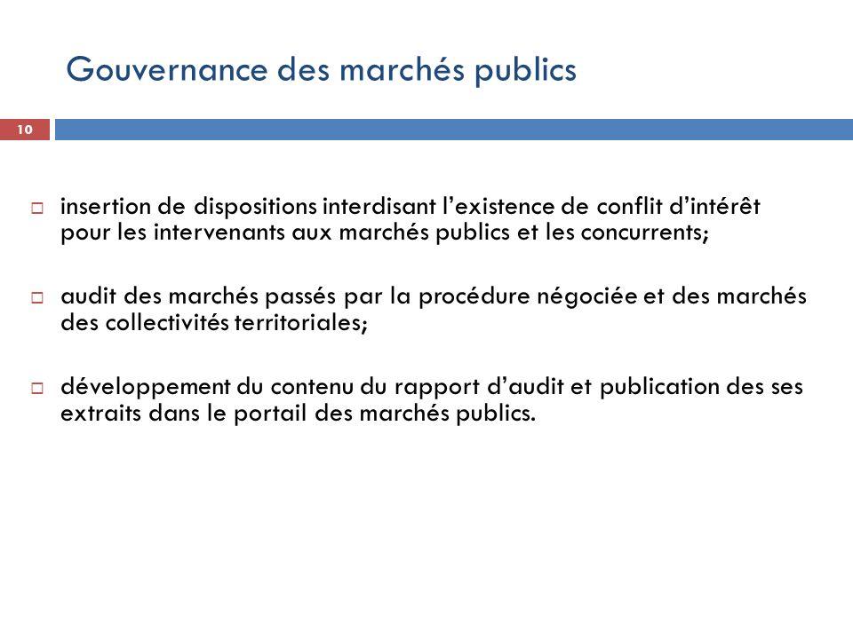 10 insertion de dispositions interdisant lexistence de conflit dintérêt pour les intervenants aux marchés publics et les concurrents; audit des marché