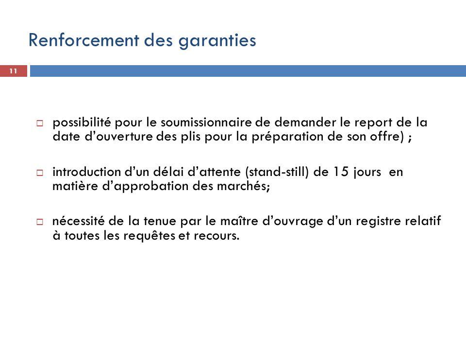 11 possibilité pour le soumissionnaire de demander le report de la date douverture des plis pour la préparation de son offre) ; introduction dun délai