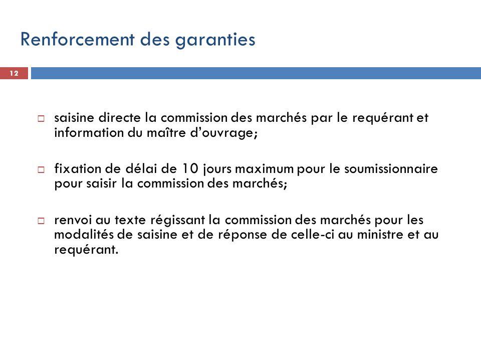 12 saisine directe la commission des marchés par le requérant et information du maître douvrage; fixation de délai de 10 jours maximum pour le soumiss