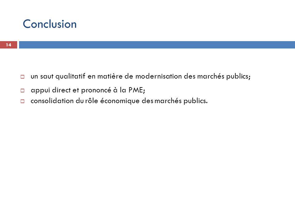14 un saut qualitatif en matière de modernisation des marchés publics; appui direct et prononcé à la PME; consolidation du rôle économique des marchés
