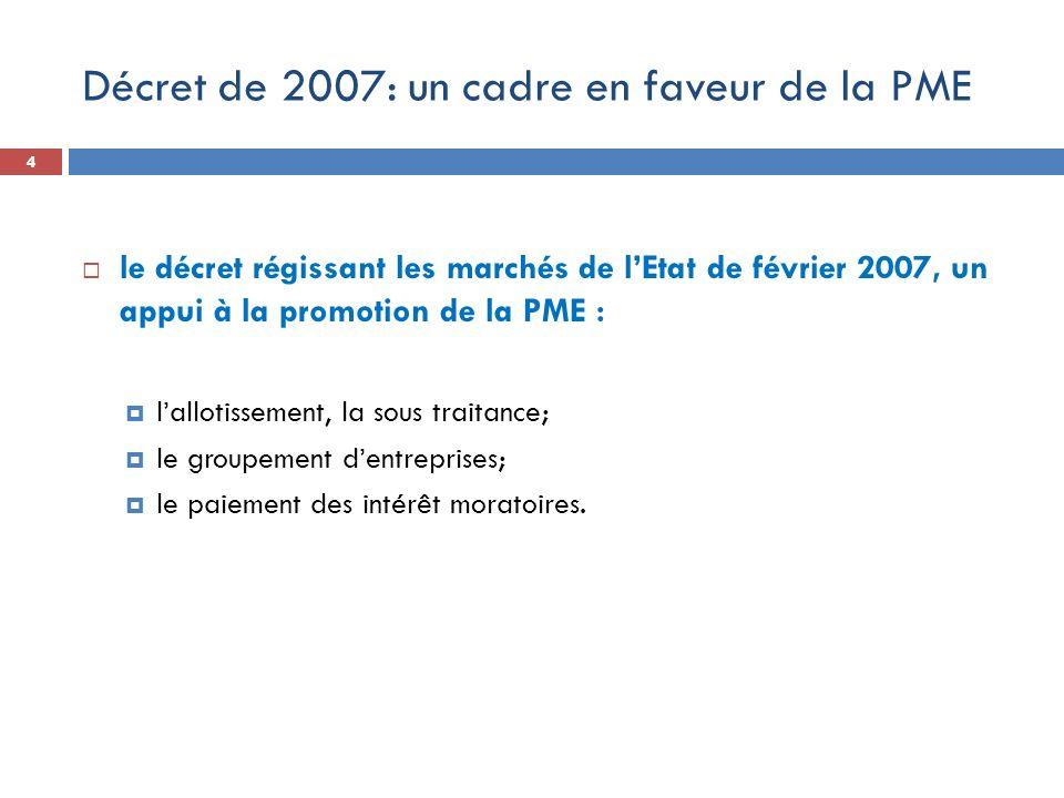 Décret de 2007: un cadre en faveur de la PME le décret régissant les marchés de lEtat de février 2007, un appui à la promotion de la PME : lallotissem