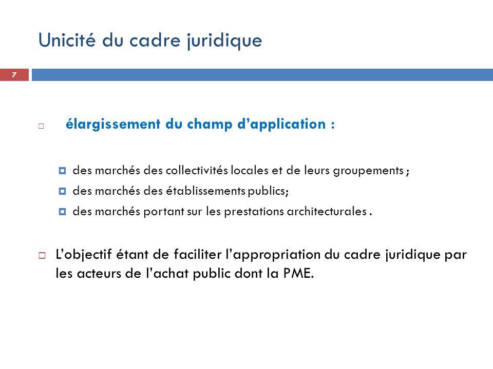7 élargissement du champ dapplication : des marchés des collectivités locales et de leurs groupements ; des marchés des établissements publics; des ma