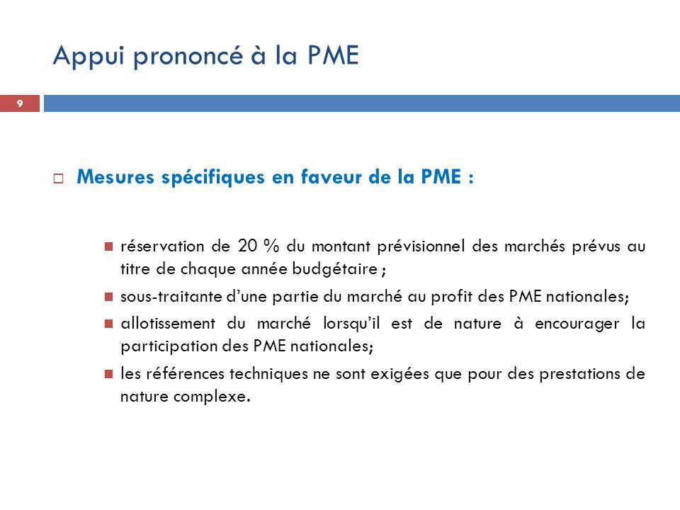Appui prononcé à la PME Mesures spécifiques en faveur de la PME : réservation de 20 % du montant prévisionnel des marchés prévus au titre de chaque an