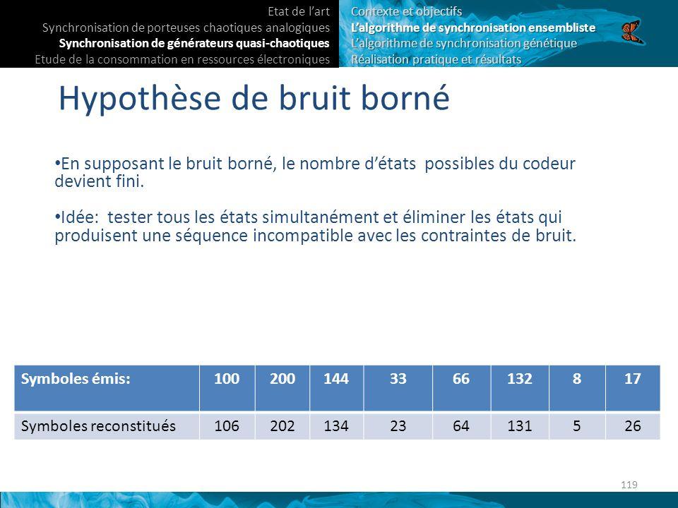 Hypothèse de bruit borné En supposant le bruit borné, le nombre détats possibles du codeur devient fini.