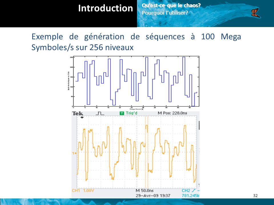 Exemple de génération de séquences à 100 Mega Symboles/s sur 256 niveaux 32 Introduction Quest-ce que le chaos.