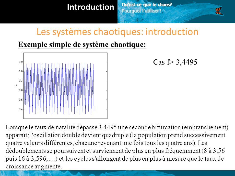 Les systèmes chaotiques: introduction Exemple simple de système chaotique: Cas f> 3,4495 Lorsque le taux de natalité dépasse 3,4495 une seconde bifurcation (embranchement) apparaît; l oscillation double devient quadruple (la population prend successivement quatre valeurs différentes, chacune revenant une fois tous les quatre ans).