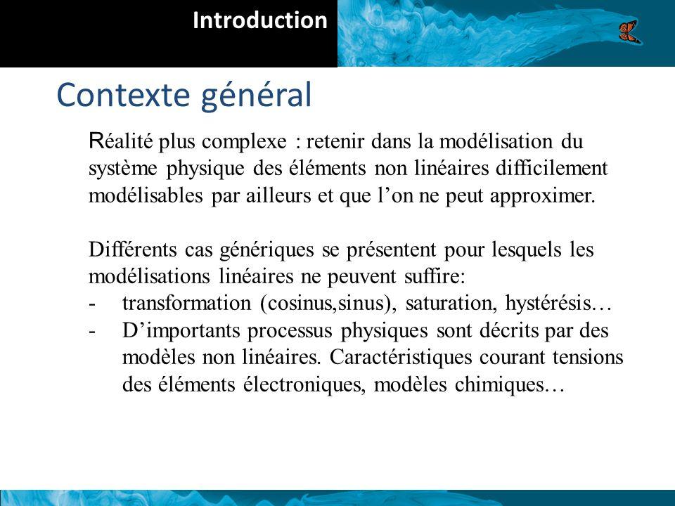 R éalité plus complexe : retenir dans la modélisation du système physique des éléments non linéaires difficilement modélisables par ailleurs et que lon ne peut approximer.