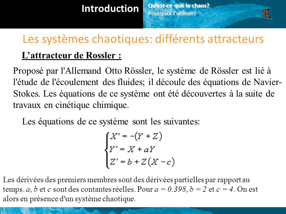 Les systèmes chaotiques: différents attracteurs Lattracteur de Rossler : Proposé par l Allemand Otto Rössler, le système de Rössler est lié à l étude de l écoulement des fluides; il découle des équations de Navier- Stokes.