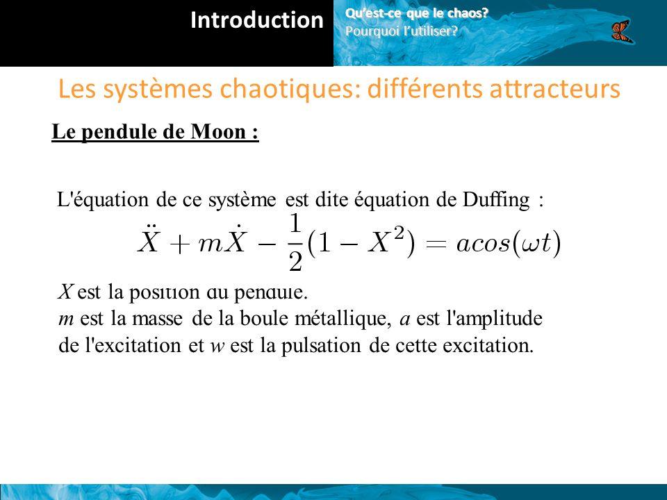 Les systèmes chaotiques: différents attracteurs Le pendule de Moon : L équation de ce système est dite équation de Duffing : X est la position du pendule.