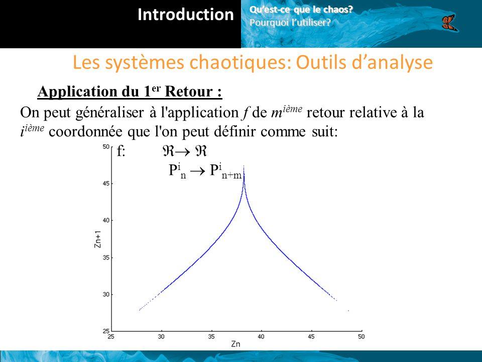 Les systèmes chaotiques: Outils danalyse Application du 1 er Retour : On peut généraliser à l application f de m ième retour relative à la i ième coordonnée que l on peut définir comme suit: f: P i n P i n+m Introduction Quest-ce que le chaos.