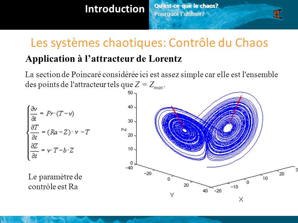 Les systèmes chaotiques: Contrôle du Chaos Application à lattracteur de Lorentz La section de Poincaré considérée ici est assez simple car elle est l ensemble des points de l attracteur tels que Z = Z max.