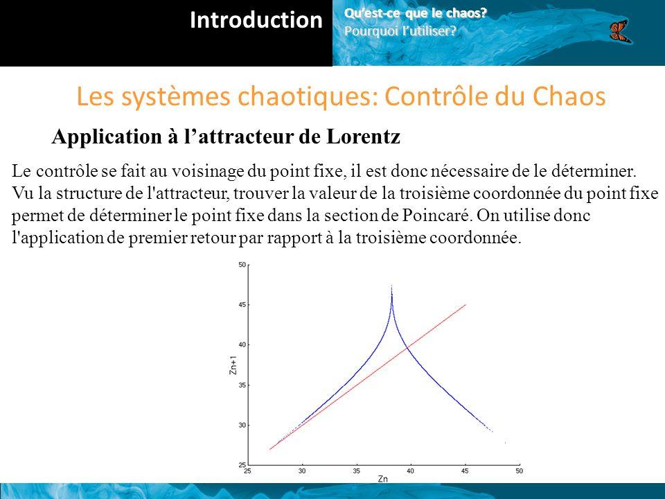 Les systèmes chaotiques: Contrôle du Chaos Application à lattracteur de Lorentz Le contrôle se fait au voisinage du point fixe, il est donc nécessaire de le déterminer.