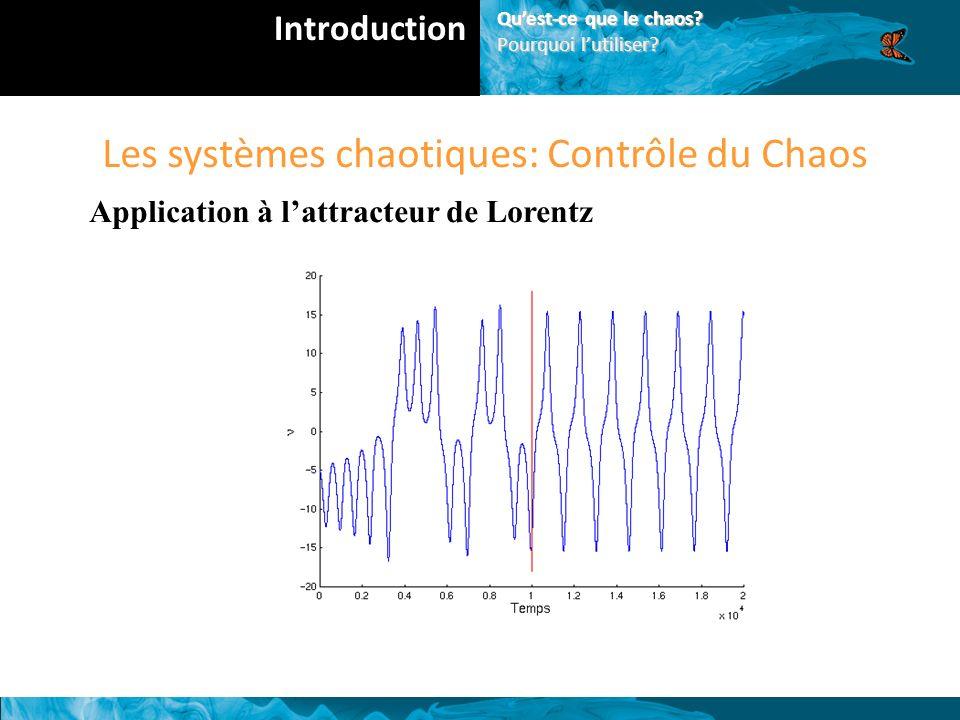 Les systèmes chaotiques: Contrôle du Chaos Application à lattracteur de Lorentz Introduction Quest-ce que le chaos.